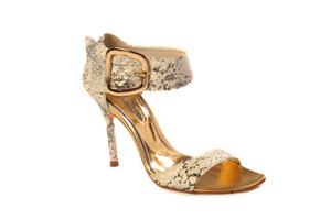 Snake-Printed Stiletto :  chic sandal printed heel